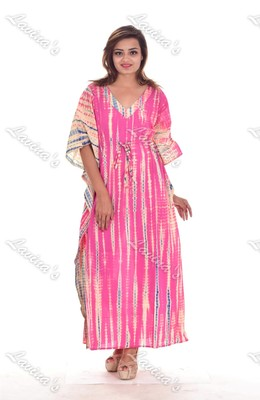 Block Printed Women Long Kaftan Floral Handmade Plus Size Maxi Dress Nightgown Tunic Boho Kurti
