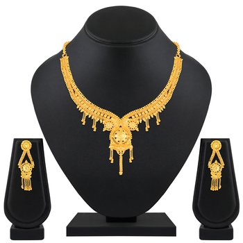 Gorgeous 1 Gram High Gold Plated Choker Style Brass Necklace Set For Women