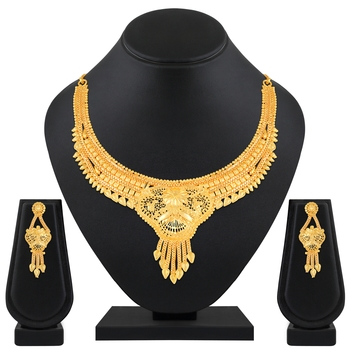 Attractive 1 Gram High Gold Plated Choker Style Brass Necklace Set For Women