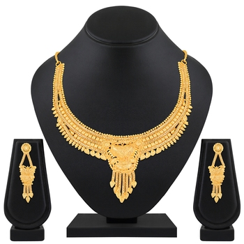 Traditional Designer 1 Gram High Gold Plated Choker Style Brass Necklace Set For Women