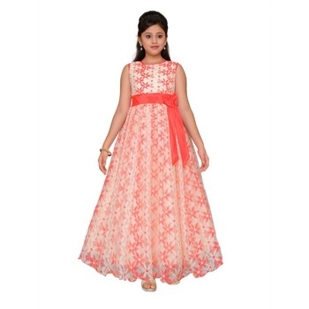 Pink printed net kids gown