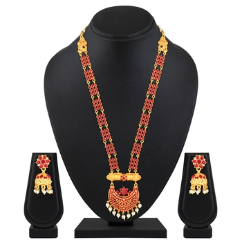Graceful Gold Plated Red Stone Rope Style Necklace Set For Women
