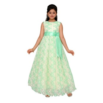 Green printed net kids gown
