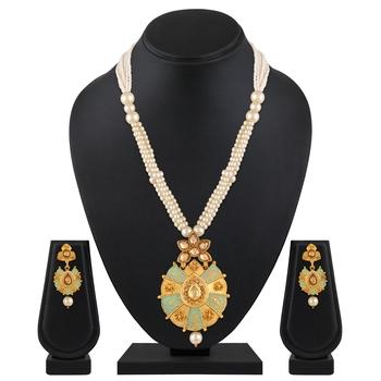 Rajwadi Style Enamel Work Gold Plated LCT Stone Matinee Style Necklace Set For Women