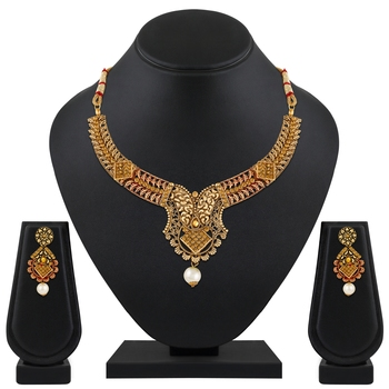 Creative Gold Plated Lct Stone Choker Necklace Set For Women