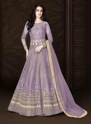 Lavender embroidered net salwar with dupatta