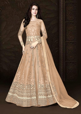 Light-peach embroidered net salwar with dupatta