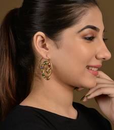 Gold Tribal Long Leaf Earrings