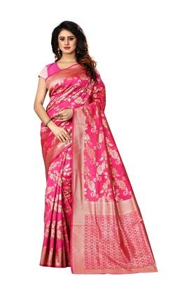 Rani pink woven art silk sarees saree with blouse