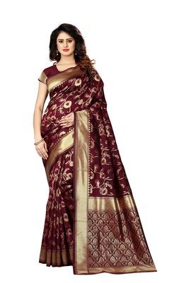Maroon woven art silk sarees saree with blouse