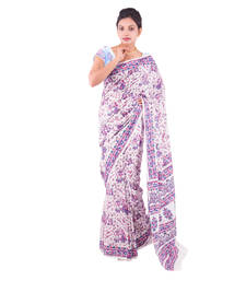 Buy multicolor Floral Cotton saree with blouse cotton-saree online