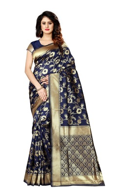 Navy blue woven art silk sarees saree with blouse