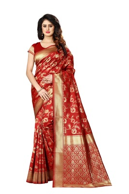 Red woven art silk sarees saree with blouse