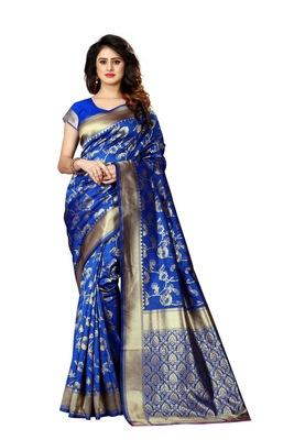 Royal blue woven art silk sarees saree with blouse