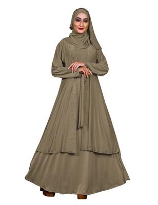 Ivory embroidered lycra burka