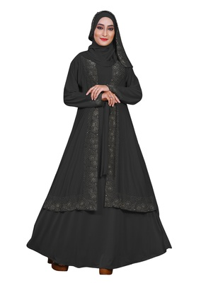 Grey Embroidered Lycra Burka