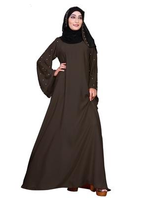 Brown embroidered nida burka