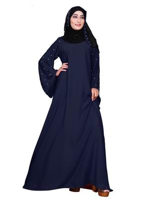 Navy-Blue Embroidered Nida Burka