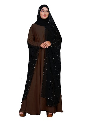 Brown Embroidered Nida Burka