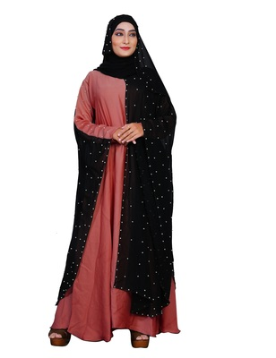 Peach embroidered nida burka