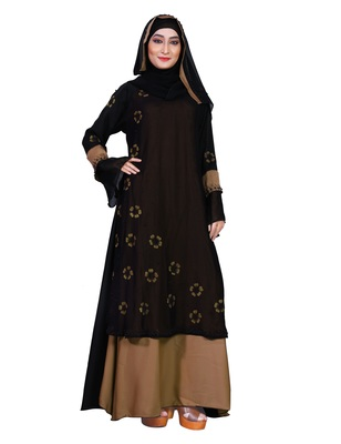 Beige embroidered nida burka