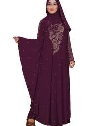 Dark-violet embroidered lycra burka