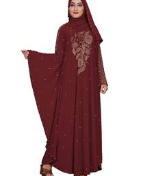 Maroon embroidered lycra burka
