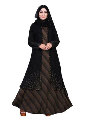 Brown embroidered lycra burka