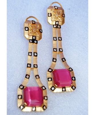Pink Chalcedony Diamond Dangler Earrings