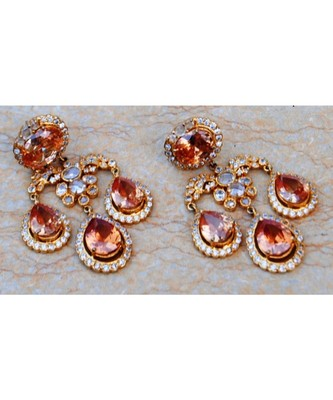 Champagne Diamond Drops Dangler Earrings