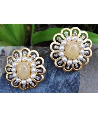 Oval Chalcedony Embedded in Floral Stud Earrings