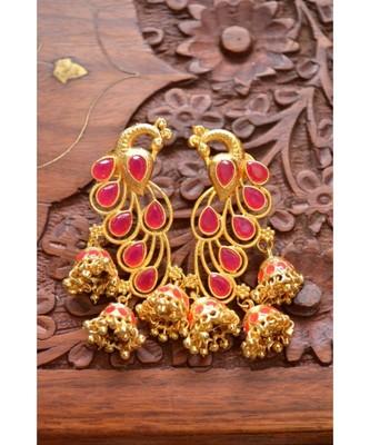 Designer Floral Peacock Meenakari Kundan Studed Onyx Stone Jhunka Earrings