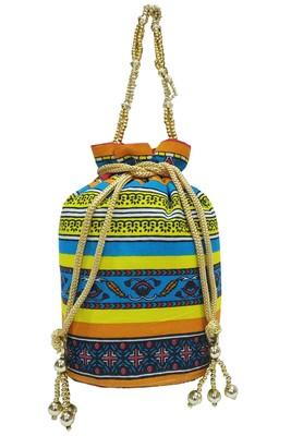 Cotton Printed Blue Handbag Ethnic Potli Bag