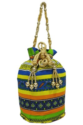 Cotton Printed Green Handbag Ethnic Potli Bag