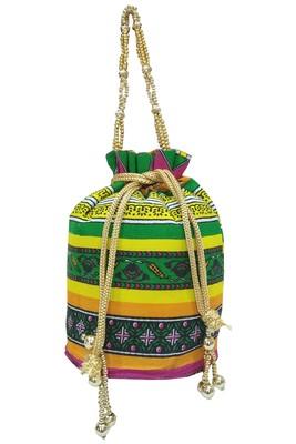 Cotton Printed Pink Handbag Ethnic Potli Bag