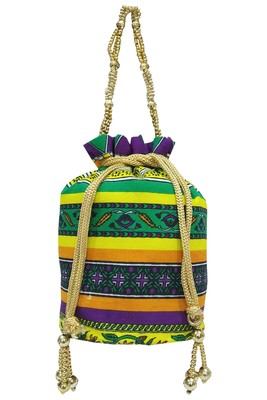 Cotton Printed Purple Handbag Ethnic Potli Bag