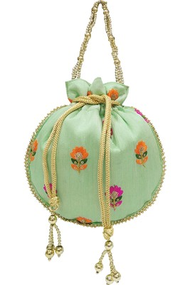 Silk Ethnic Buti Embroidered Green Party Wear Handbag Potli Bag