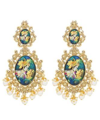 Designer handpainted enamelled radha krishna painting dangler earrings with studded diamond