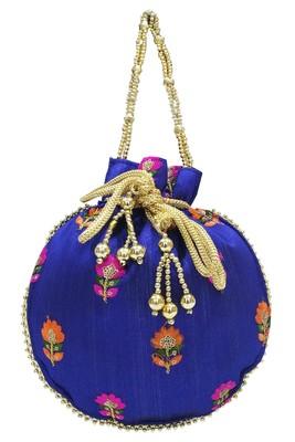 Silk Ethnic Buti Embroidered Navy Blue Party Wear Handbag Potli Bag