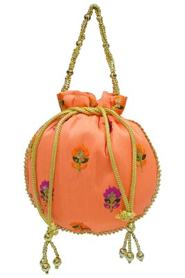 Silk Ethnic buti Embroidered Peach Party Wear Handbag Potli Bag