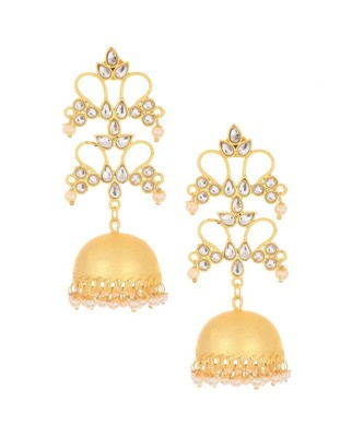 Designer gold plated high gloss golden Kundan Stone Flower jhumka with pearl in bottom