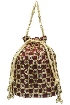 Silk Ethnic Golden Embroidered Brown Handbag Potli Bag