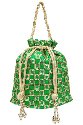 Silk Ethnic Golden Embroidered Green Handbag Potli Bag