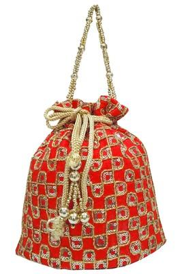 Silk Ethnic Golden Embroidered Red Handbag Potli Bag