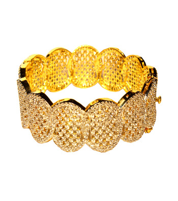Ethnic Kada With Meshed In Oval Pattern