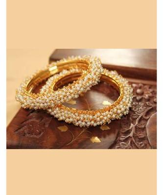 Designer Pearl Stone Wedding Bridal Bunched Pearl Bangles Set