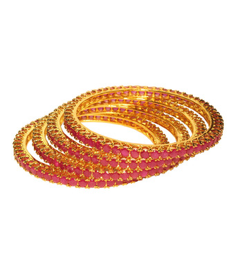 Attractive Pink Stone Single Line Four Bangles Set