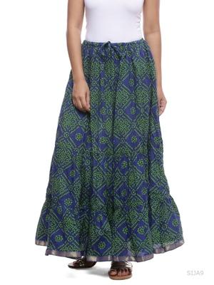 Blue Cotton Bandhej Print Skirt