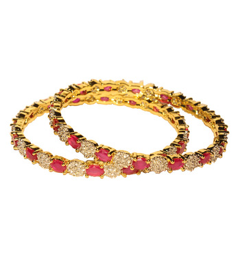 Stunning Pink Stone and studded Bangles