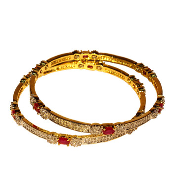 Gold Plated Bezel Setting Bangles With Pinkish Red Ruby Stones